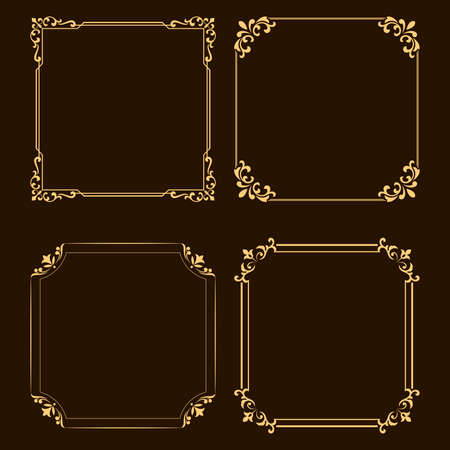 Vintage set of decorative frames. Graphic design in vintage style.