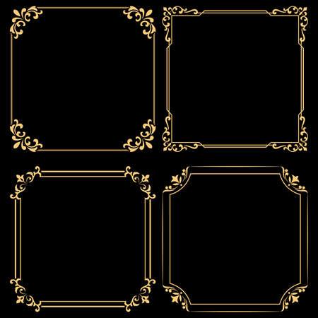 Vintage set of decorative frames. Graphic design in vintage style. Vektorové ilustrace