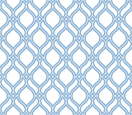 The geometric pattern with wavy lines. Seamless vector background. White and blue texture. Simple lattice graphic design.