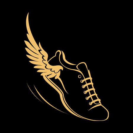 Sports shoes for running, running shoe with a wing. Graphic modern vector illustration. Golden symbol on a black background.