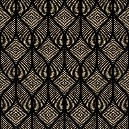 Het geometrische patroon met golvende lijnen, punten. Naadloze vector achtergrond. Goud en zwart textuur. Eenvoudig rooster grafisch ontwerp Vector Illustratie