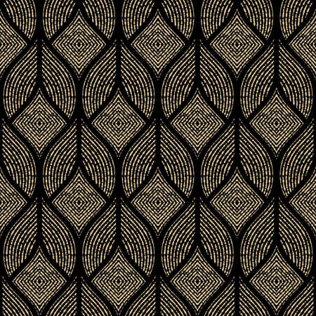 The geometric pattern with wavy lines, points. Seamless vector background. Gold and black texture. Simple lattice graphic design Ilustração