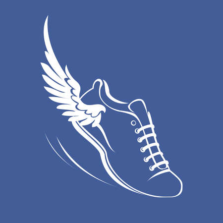 Sports shoes for running, running shoe with a wing. Graphic modern vector illustration. White symbol on a blue background.