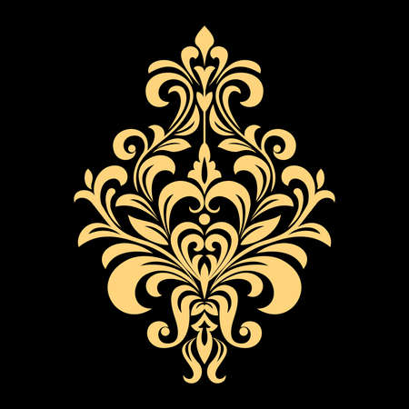 Golden vector pattern on a black background. Damask graphic ornament. Floral design element. Stockfoto - 101723528