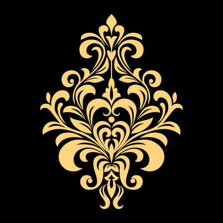Modèle vectoriel doré sur fond noir. Ornement graphique damassé. Élément de design floral.