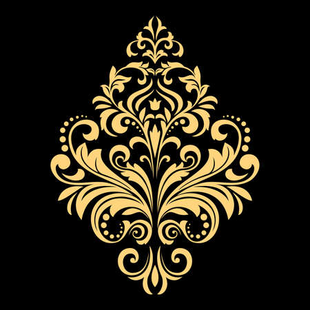 Golden vector pattern on a black background. Damask graphic ornament. Floral design element. Zdjęcie Seryjne - 101723630