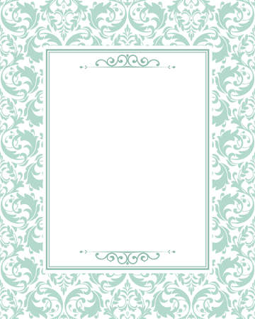 Invitation wedding card. Vintage floral design, graphic frame. Damask vectorial pattern. Green pattern on a white background.