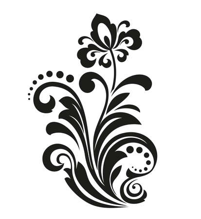 Black flower on a white background. Isolated decoration element. Graphic vectorial pattern.
