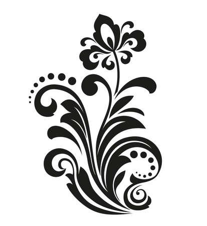 Zwarte bloem op een witte achtergrond. Geïsoleerde decoratie-element. Grafisch vectorieel patroon.