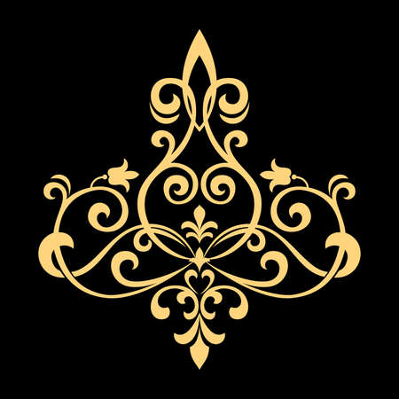 Golden vector pattern on a black background. Damask graphic ornament. Floral design element.