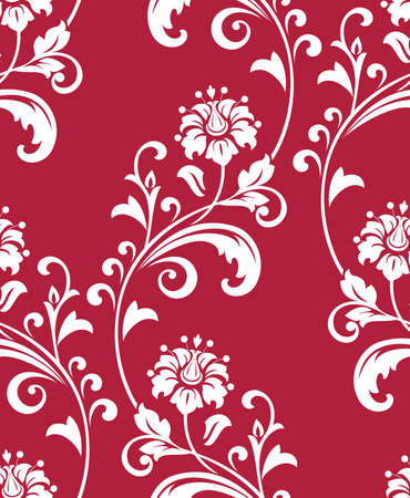 Flower pattern. Seamless white and red ornament. Graphic vector background. Ornament for fabric, wallpaper, packaging
