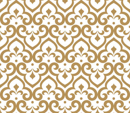 Floral pattern. Vintage wallpaper in the Baroque style. Seamless vector background. White and gold ornament for fabric, wallpaper, packaging. Ornate Damask flower ornament Illustration