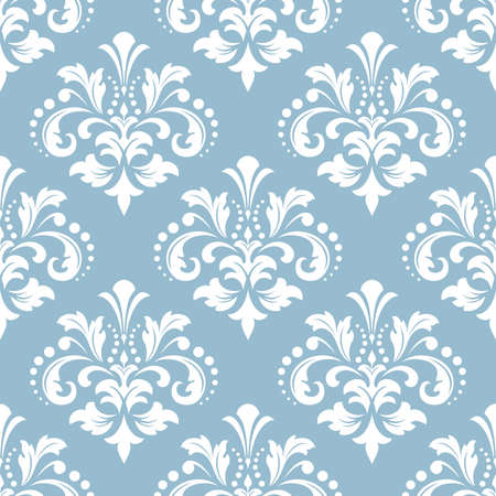 Floral pattern. Vintage wallpaper in the Baroque style. Seamless vector background. White and blue ornament for fabric, wallpaper, packaging. Ornate Damask flower ornament