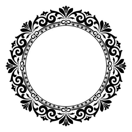 Decorative frame. Elegant vector element for design in Eastern style, place for text. Floral black border. Lace illustration for invitations and greeting cards Иллюстрация