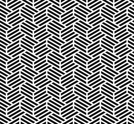 Abstract geometric pattern with stripes, lines. Seamless vector background. White and black ornament. Simple lattice graphic design.
