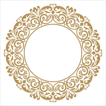 Decorative frame. Elegant vector element for design in Eastern style, place for text. Floral golden border. Lace illustration for invitations and greeting cards.