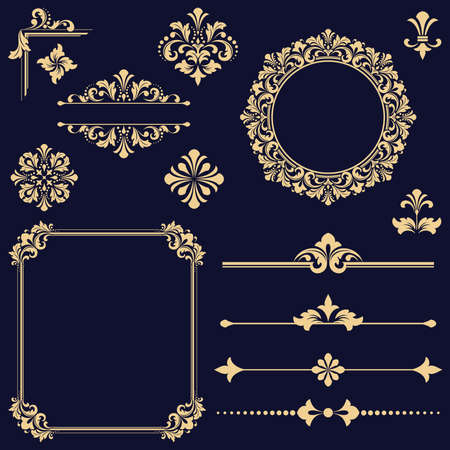 Vintage gold Set. Floral elements for design monograms, invitations, frames, menus and labels. Graphic design of the website, cafes, boutiques, hotels, wedding invitations.
