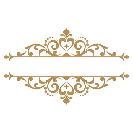 Vintage gold frame background. Graphic vector design. Damask graphic ornament. Illustration