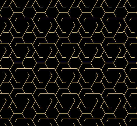 The geometric pattern with lines. Seamless vector background. Gold and black texture. Graphic modern pattern. Simple lattice graphic design Illustration