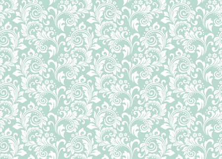 Flower pattern. Seamless white and blue ornament. Graphic vector background. Ornament for fabric, wallpaper, packaging