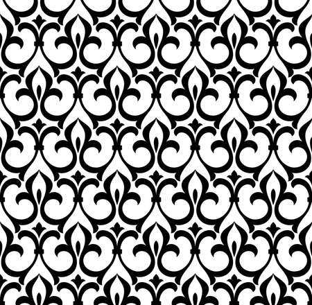 Wallpaper in the style of Baroque. A seamless vector background. White and black floral ornament. Graphic pattern for fabric, wallpaper, packaging. Ornate Damask flower ornament