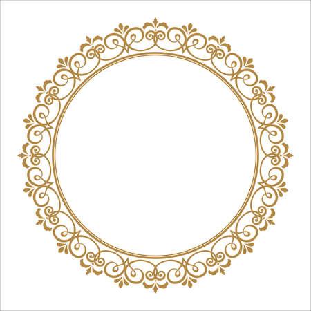 Decoratief frame. Elegant vectorelement voor ontwerp in Oosterse stijl, plaats voor tekst. Floral gouden rand. Kant illustratie voor uitnodigingen en wenskaarten.