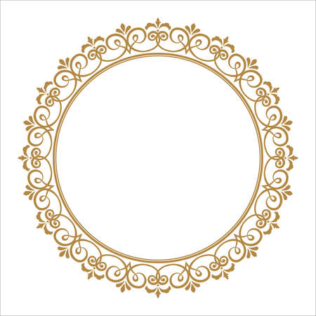 Decorative frame. Elegant vector element for design in Eastern style, place for text. Floral golden border. Lace illustration for invitations and greeting cards. 免版税图像 - 102489011
