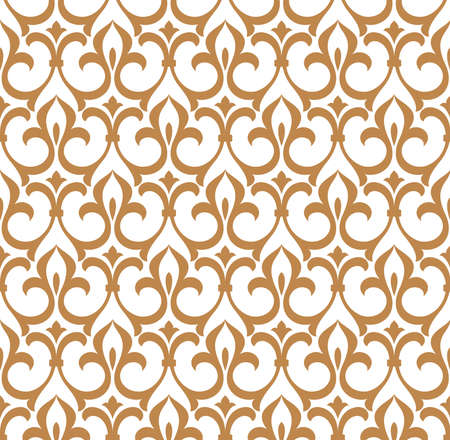 Floral pattern. Vintage wallpaper in the Baroque style. Seamless vector background. White and gold ornament for fabric, wallpaper, packaging. Ornate Damask flower ornament Illusztráció