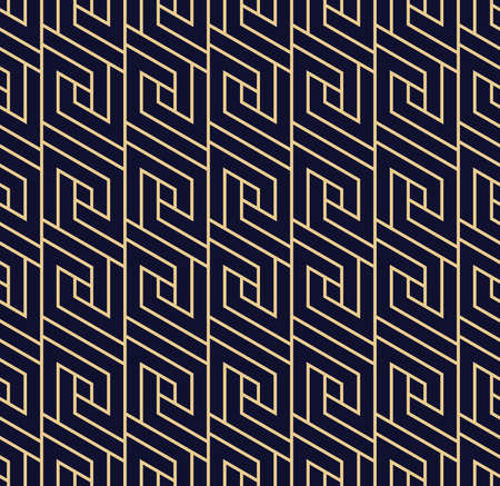 Abstract geometric pattern with lines.  A seamless background. Dark blue and gold texture.