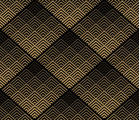 Abstract geometric pattern. Vector seamless background. Black and gold ornament. Graphic modern pattern