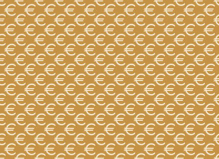 Abstract geometric pattern with euro. A seamless vector background. White and gold ornament. Graphic modern pattern. Simple lattice graphic design