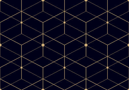 The geometric pattern with lines. Seamless vector background. Blue and gold rey texture. Graphic modern pattern. Simple lattice graphic design