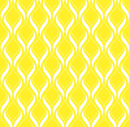 The geometric pattern with wavy lines, points. Seamless vector background. White and yellow texture. Simple lattice graphic design