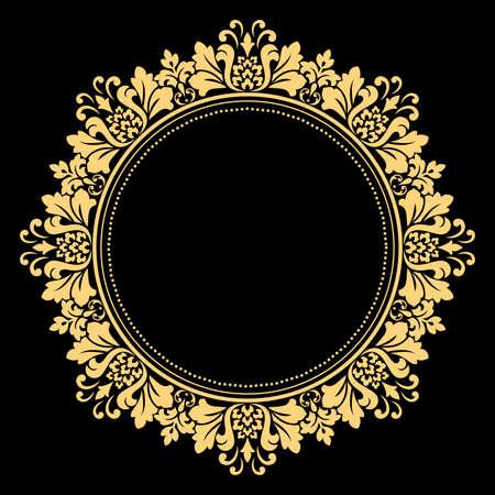 Decoratief frame. Elegant vectorelement voor ontwerp in Oosterse stijl, plaats voor tekst. Floral gouden rand. Kant illustratie voor uitnodigingen en wenskaarten. Stockfoto - 103230613