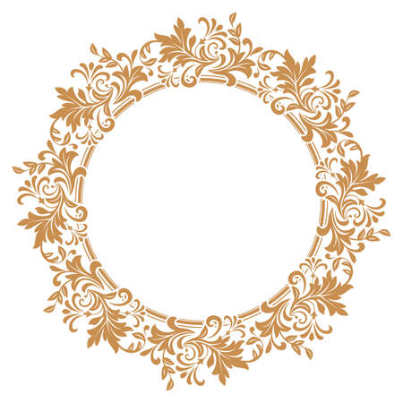 Decorative frame. Elegant vector element for design in Eastern style, place for text. Floral golden border. Lace illustration for invitations and greeting cards