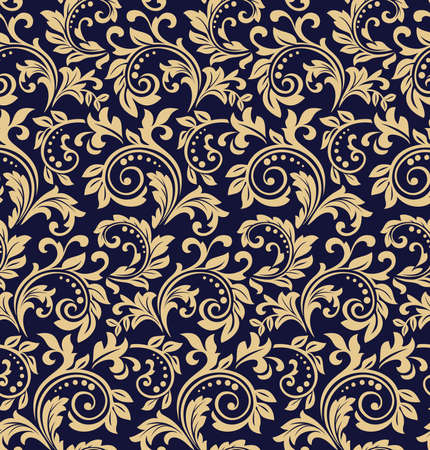 Wallpaper in the style of Baroque. Seamless vector background. Dark blue and gold floral ornament. Graphic pattern for fabric, wallpaper, packaging. Ornate Damask flower ornament