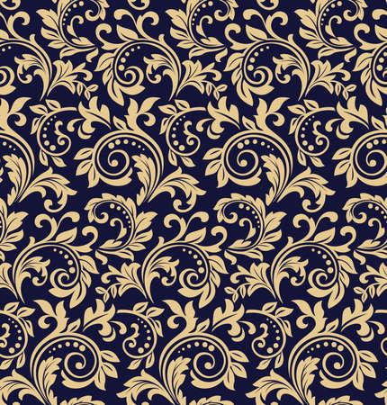 バロック様式の壁紙。シームレスなベクターの背景。ダークブルーとゴールドの花飾り。ファブリック、壁紙、パッケージングのためのグラフィックパターン。華やかなダマスク花飾り