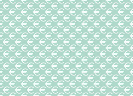 Abstract geometric pattern with euro. A seamless vector background. White and blue ornament. Graphic modern pattern. Simple lattice graphic design