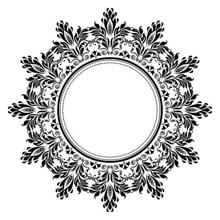 Decorative frame. Elegant vector element for design in Eastern style, place for text. Floral black border. Lace illustration for invitations and greeting cards Vector Illustration