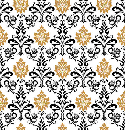 Wallpaper in the style of Baroque. Seamless vector background. Black and gold floral ornament. Graphic pattern for fabric, wallpaper, packaging. Ornate Damask flower ornament Illustration