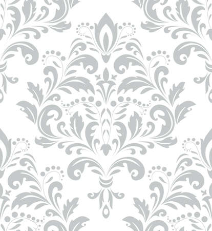 Wallpaper in the style of Baroque. A seamless background. Gray and white texture. Floral ornament. Graphic pattern.