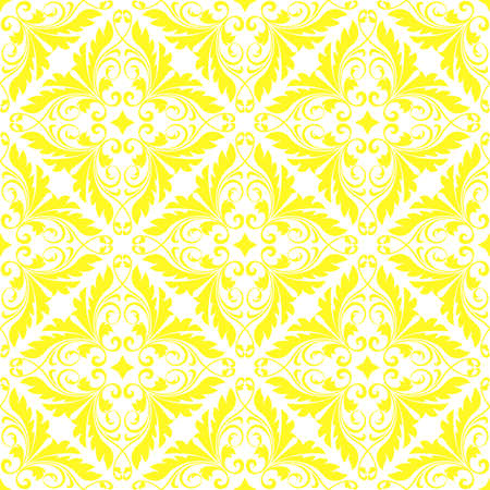 Wallpaper in the style of Baroque. Seamless vector background. White and yellow floral ornament. Graphic pattern for fabric, wallpaper, packaging. Ornate Damask flower ornament Illustration