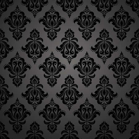 Floral pattern. Wallpaper baroque, damask. Seamless background. Black ornament