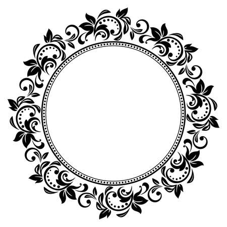 Cornice decorativa Elegante elemento vettoriale per il design in stile orientale, luogo per il testo. Bordo nero floreale. Illustrazione di pizzo per inviti e biglietti di auguri