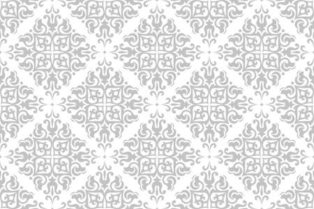 Floral pattern. Vintage wallpaper in the Baroque style. Seamless vector background. White and grey ornament for fabric, wallpaper, packaging. Ornate Damask flower ornament. 矢量图像