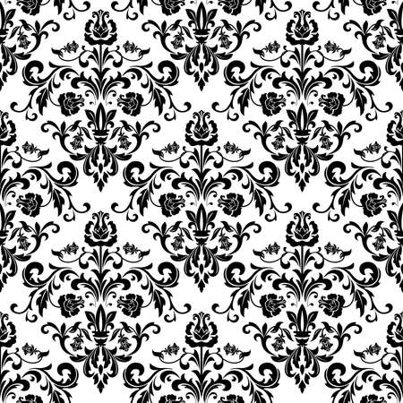 Floral pattern. Wallpaper baroque, damask. Seamless background. Black and white ornament.