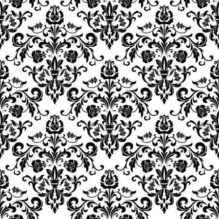 Bloemenpatroon. Behang barok, damast. Naadloze achtergrond. Zwart-wit ornament. Stockfoto