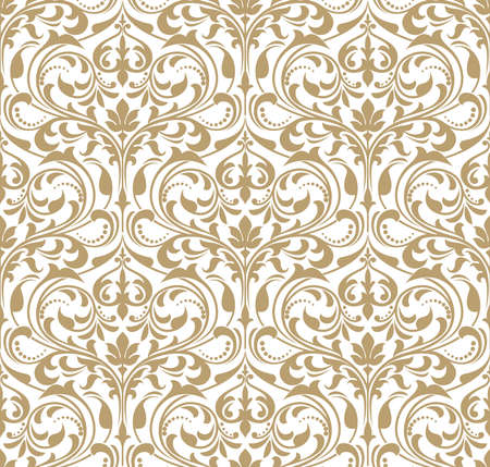 Floral pattern. Wallpaper baroque, damask. Seamless background. Gold and white ornament. Stock Photo