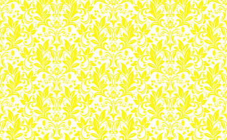Floral pattern. Vintage wallpaper in the Baroque style. Seamless vector background. White and yellow ornament for fabric, wallpaper, packaging. Ornate Damask flower ornament