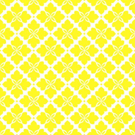 Flower geometric pattern. Seamless vector background. White and yellow ornament. Ornament for fabric, wallpaper, packaging. Decorative print